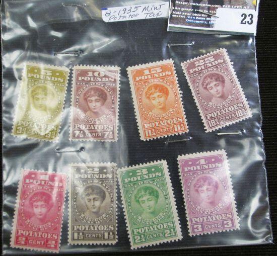 (8) different 1935 Mint Condition Internal Revenue Potato Tax Stamps.
