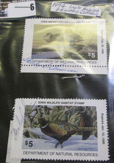 1994 Iowa Habitat & Migratory Waterfowl Stamps, botrh signed.