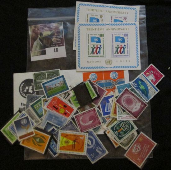 Group Of United Nations Mint Stamps, Cover, And Souvenir Sheets.