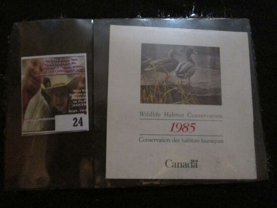 1985 Canada Wildlife Habitat Conservation Stamp In Original Folder. Mint Condition.