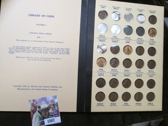 Library of Coins Album containing a partial set of Lincoln Cents dating 1941 up.