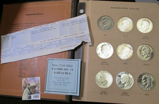 32 piece Set of Eisenhower Dollars in a World Coin Library Album. Includes the silver issues and ori
