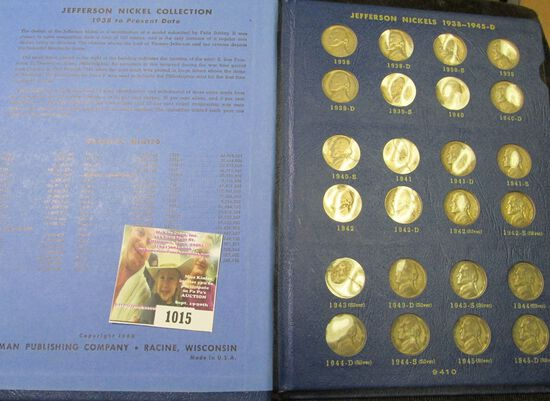 1938-64 Complete Set of Jefferson Nickels in a Deluxe Whitman Album.