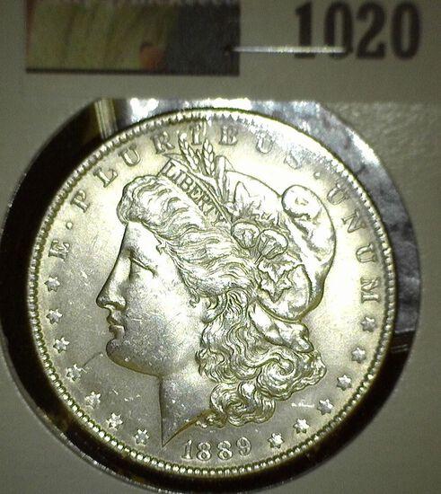 1889 P Morgan Silver Dollar, Brilliant Uncirculated.