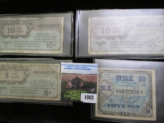 (3) Series 461 Military Payment Certificates 5c-10c & Series 100 Fifty Sen Military Currency Note.
