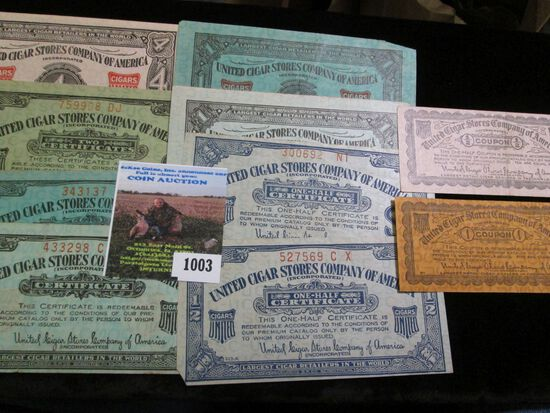 """Set of ten different """"United Cigar Stores Company of America"""" Scrip."""