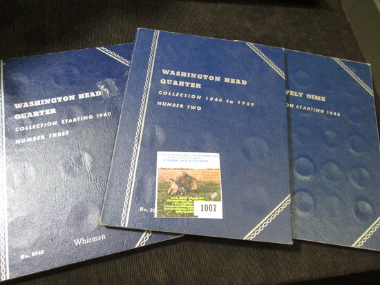 (3) different blue Whitman Coin folders. Used.