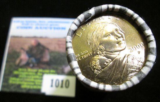 2000 P Original bank-wrapped Roll of Sacagawea One Dollar Coins, Gem BU. (25 pcs.).