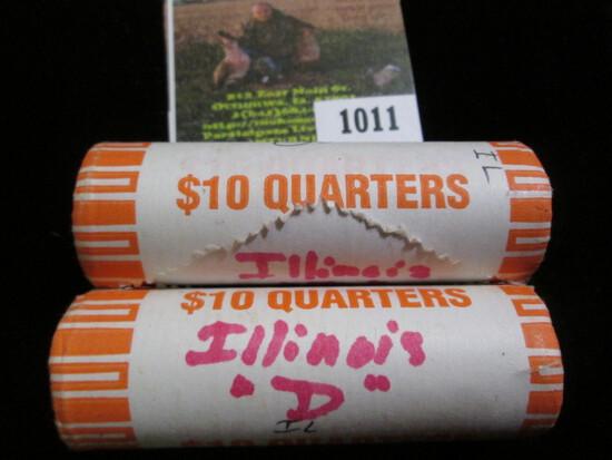 (2) 2003 Denver Mint Original bank-wrapped Rolls of Illinois Statehood Commemorative Quarters. Gem B