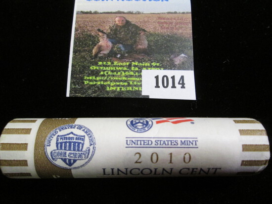"""2010 P U.S. Mint wrapped original Roll of """"Shield"""" Lincoln Cents. (50 coins) Gem BU."""