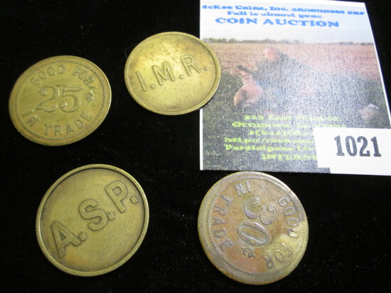 Four-piece, all different Set of Anamosa (Iowa) Prison Tokens. Scarce.