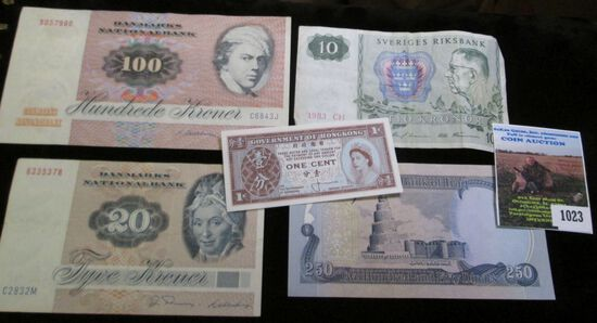 Five Foreign Banknotes, some are likely still negotiable. Includes Denmark, Sweden, Iraq & Hong Kong