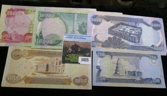 Set of Five Iraq Banknotes. Includes $250, $1000, $5000, $10000, $25000 Dinars Notes.