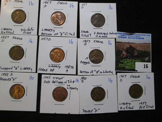 10 Error Lincoln Cents All For One Money