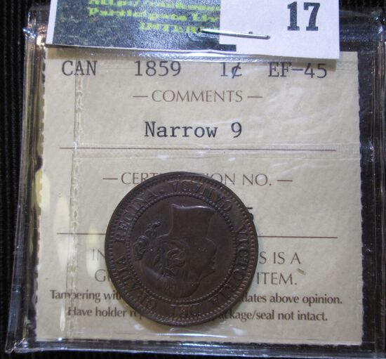1859 Canadian Large Cent With Narrow 9 Graded Extra Fine 45 By Iccs.  They Are A Respected Canadian