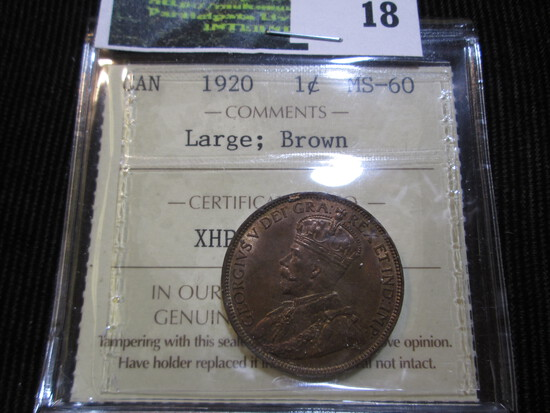 1920 Uncirculated Canadian Large Cent Graded Ms60 Brown By Iccs