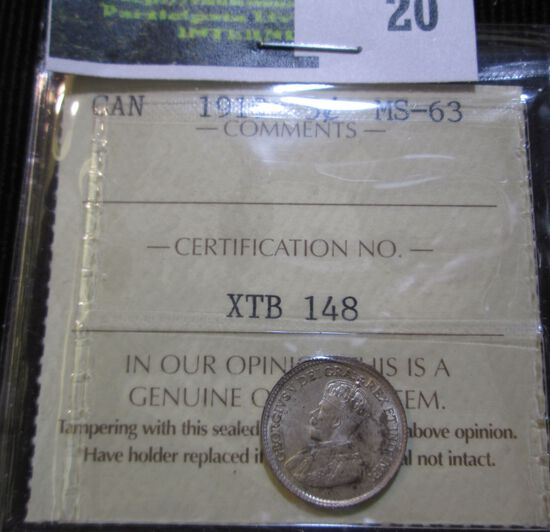 1919 Canadian Silver 5 Cent Piece Graded Ms 63 By Iccs (A Reputable Grading Company In Canada).  It