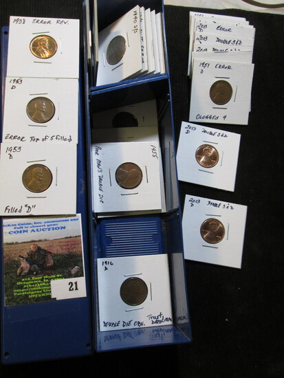 Blue Stock Box Filled One Third Full With Error Coins