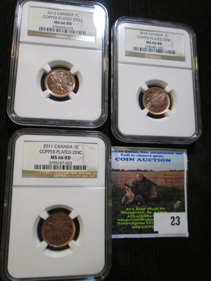 2010. 2011, And 2012 Canadian Small Cents Graded Ms 66 Red.  In The Ngc Coin Catalog Each Coin Books