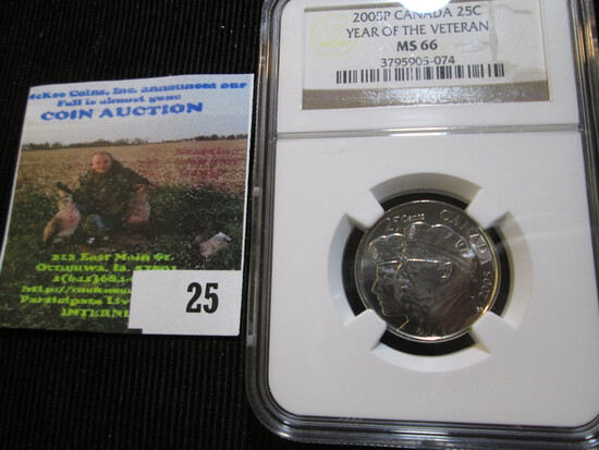 2005-P Canadian Quarter Year Of The Veteran Graded Ms 66 By Ngc.  On The Ngc Website This Books For
