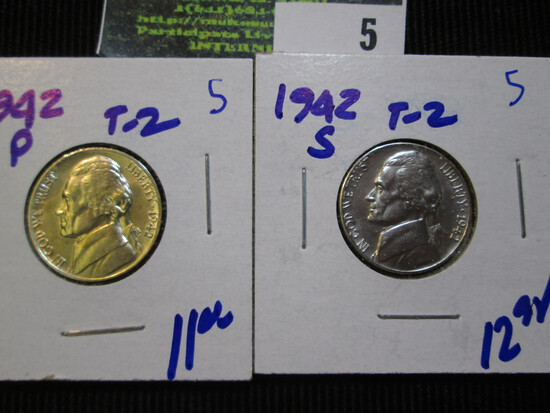 1942-P And 1942-S Silver War Nickels