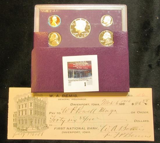 "1906 ""W.A. Bemis General Insuarnce Davenport, Iowa"" cancelled check; & 1990 S U.S. Proof Set with de"