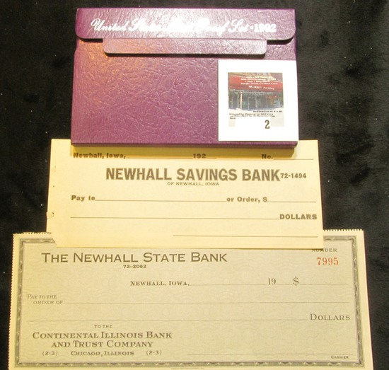 1992 S U.S. Cameo Proof Set & two different Newhall, Iowa Bank Checks from the 1920 era, both unissu