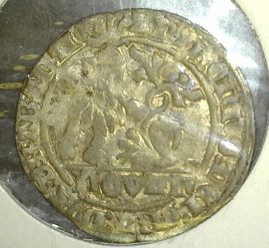 Silver Quarter Sized Coin Minted During The Reign Of Joanna Duchess Of Brabant Also Known As Jenne D