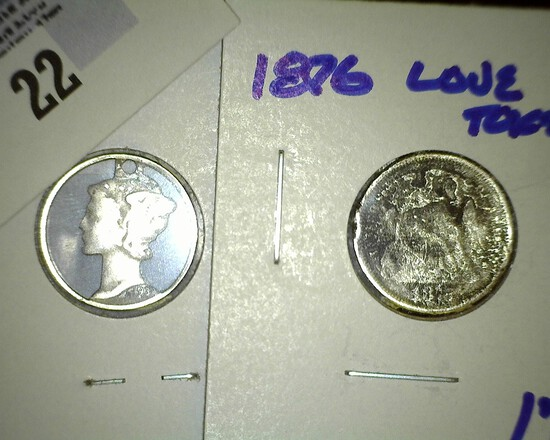 """Cut Out Mercury Dime And A Seated Dime Love Token.  The Love Token Has The Letters """"F, E, And L """" In"""