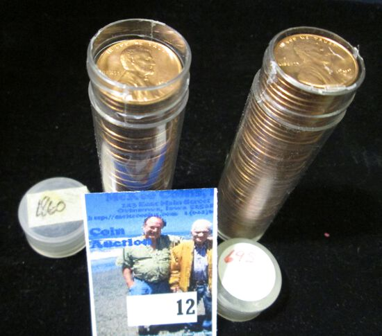 1960 P Large Date & 69 S Gem BU Solid-date Rolls of Lincoln Cents.