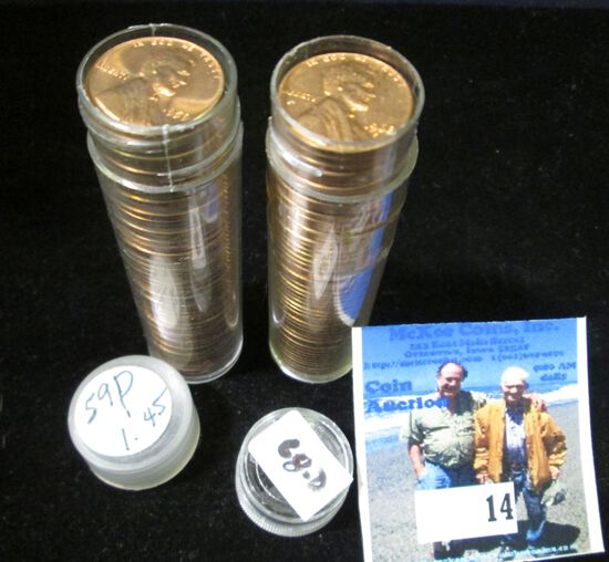 1959 P & 68 D Gem BU Solid-date Rolls of Lincoln Cents.