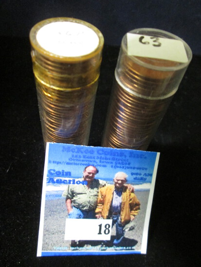 1956 P & 63 P Gem BU Solid-date Rolls of Lincoln Cents.