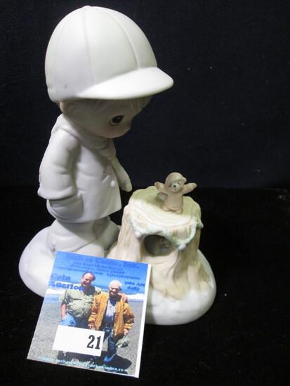 "1989 ""Precious Moments Wishing You a Cozy Season"" Porcelain Figurine, #521949."
