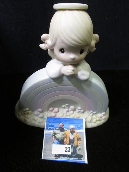 "1985 ""Precious Moments God Bless you with Rainbows"" Porcelain Figurine, #16020."