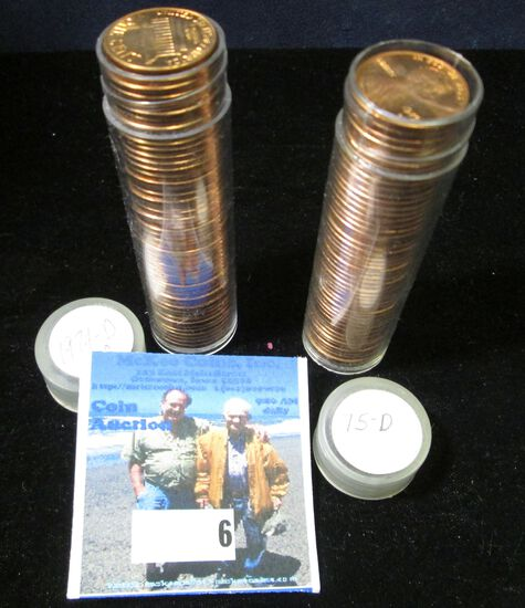 1974 D & 75 D Gem BU Solid-date Rolls of Lincoln Cents.
