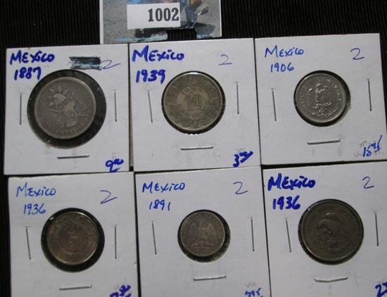 Mexican Coin Lot Includes 1887 25 Centavos, 1939 10- Centavos, 1906 5-Centavos, 1936 5-Centavos, & 1
