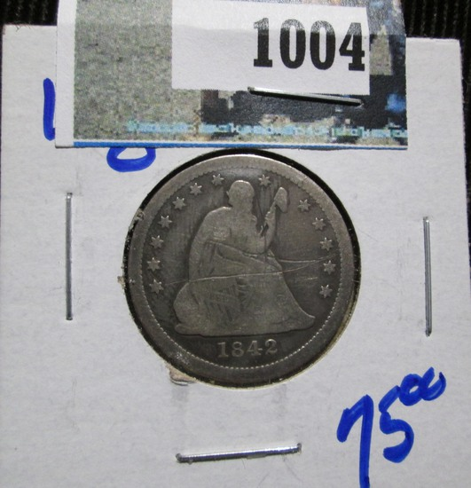 1842-O Seated Quarter, Scratched