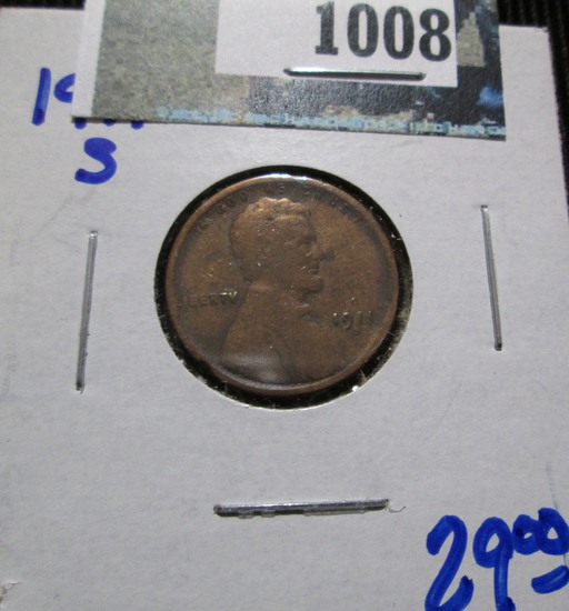 Semi Key Date 1911-S Wheat Cent