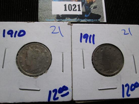 1910 & 1911 V Nickels