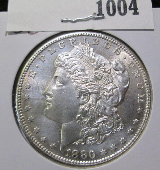 1880 S Morgan Silver Dollar, Semi-prooflike.