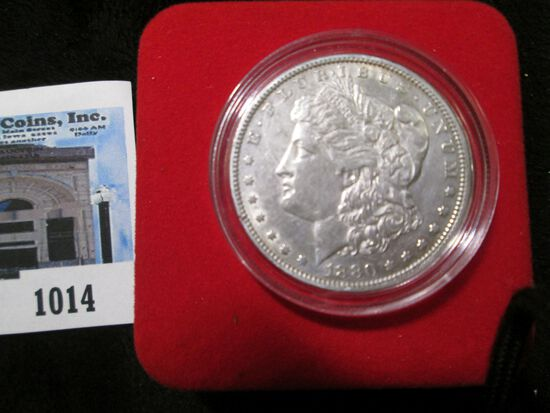 1880 P Morgan Silver Dollar in velvet-lined box with C.O.A.