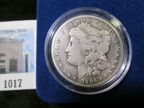 1896 S Morgan Silver Dollar in velvet-lined box with C.O.A.