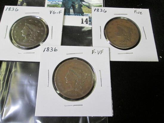 (3) 1836 U.S. Large Cents, VG-Fine, VG-Fine, & Fine-VF.