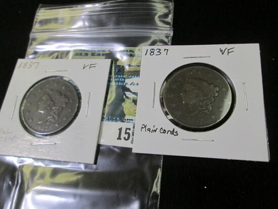 (2) 1837 Plain Cords U.S. Large Cents, both VF.