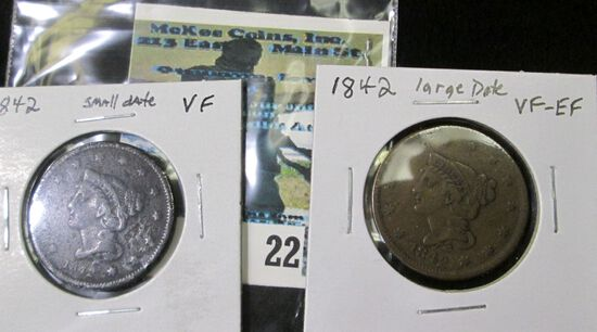1842 small date VF & 1842 Large Date, VF-EF U.S. Large Cents.