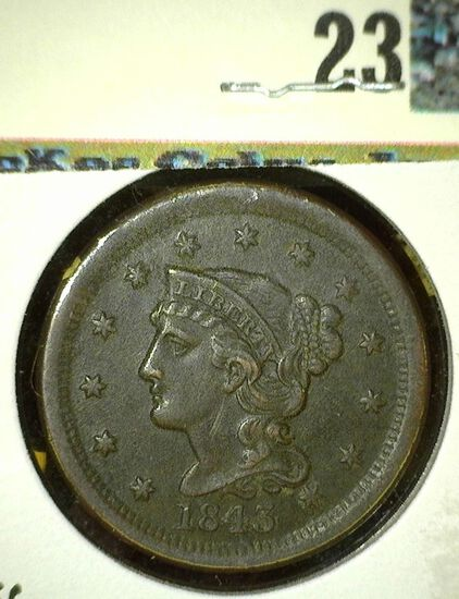 1843 head of 1844, centered large Date, large letters, EF.