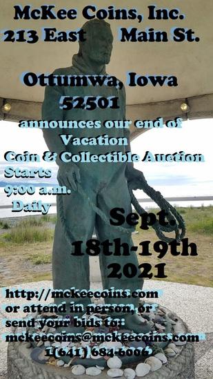 Mckee Coins Inc. Live Auction September 18-19,2021