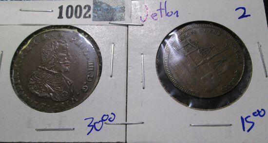 (2) 17th Century Jettons