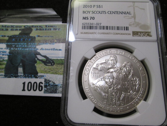 Uncirculated2010-P Boy Scouts  Centennial Silver Commemorative Dollar Graded Ms 70 By Ngc
