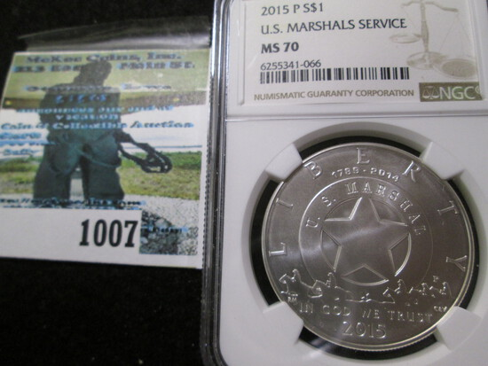 Uncirculated 2015-P U.S. Marshals Service Centennial Silver Commemorative Dollar Graded Ms 70 By Ngc